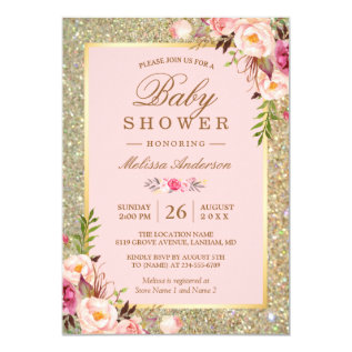 Blush Pink Floral Gold Sparkles Baby Shower Card at Zazzle