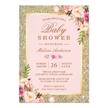 Toddler & Baby themed Blush Pink Floral Gold Sparkles Baby Shower Card