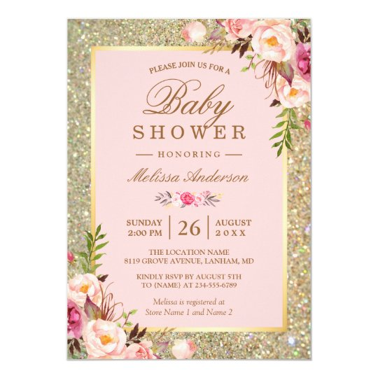 Blush Pink Floral Gold Sparkles Baby Shower Card Zazzlecom