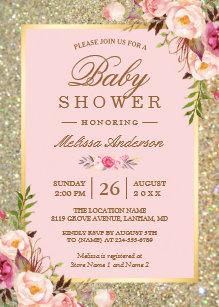 Baby shower invitations zazzle blush pink floral gold sparkles baby shower invitation filmwisefo