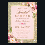 "Blush Pink Floral Gold Sparkles Bridal Shower Card<br><div class=""desc"">================= ABOUT THIS DESIGN ================= Wedding Blush Pink Floral Gold Sparkles Bridal Shower Invitation. (1) For further customization, please click the &quot;Customize&quot; button and use our design tool to modify this template. All text style, colors, sizes can be modified to fit your needs. (2) If you prefer thicker papers, you...</div>"