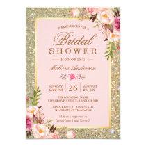 Blush Pink Floral Gold Sparkles Bridal Shower Card