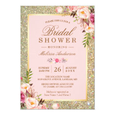 Blush Pink Floral Gold Sparkles Bridal Shower Card at Zazzle