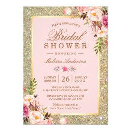 Bridal shower invitations zazzle blush pink floral gold sparkles bridal shower card filmwisefo Gallery