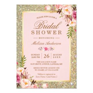 blush pink floral gold sparkles bridal shower card - Wedding Shower Invites
