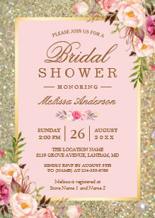 Glitter bridal shower invitations zazzle blush pink floral gold sparkles bridal shower invitation filmwisefo