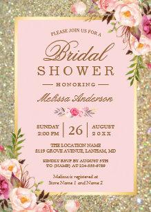 Floral bridal shower invitations zazzle blush pink floral gold sparkles bridal shower invitation filmwisefo