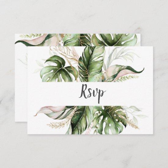 Blush Pink Floral Gold Tropical Greenery Wedding RSVP Card