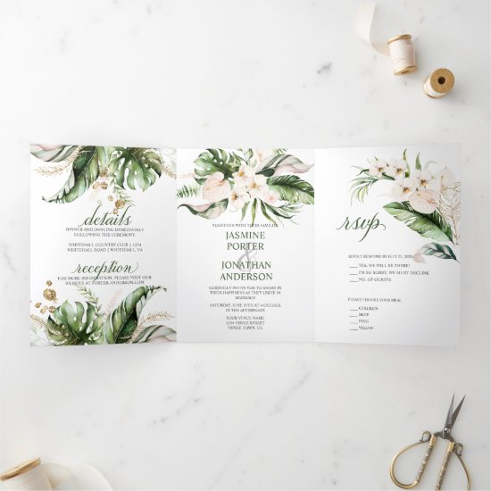 Blush Pink Floral Gold Tropical Greenery Wedding Tri-Fold Invitation
