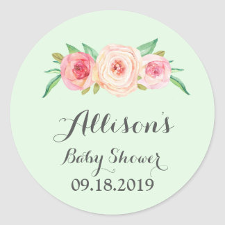 Blush Pink Floral Green Baby Shower Tag