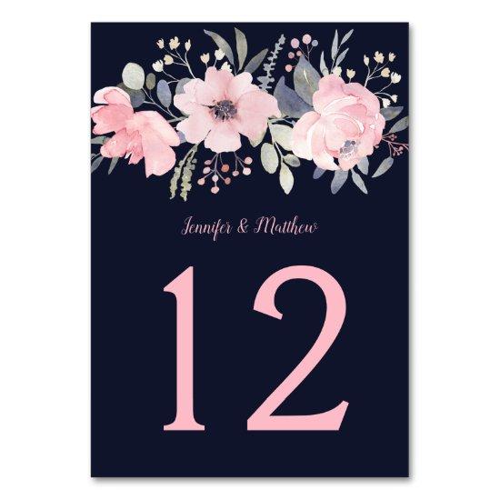 Blush Pink Floral Header on Navy | Table Number