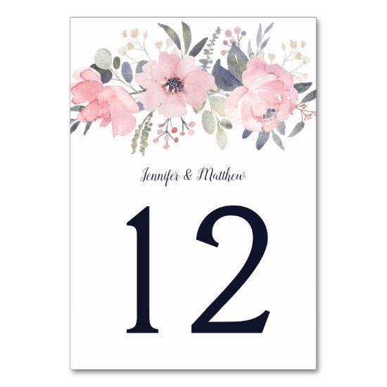 Blush Pink Floral Header on White | Table Number