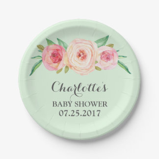 Blush Pink Floral Mint Green Baby Shower Plate