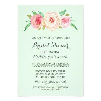 Blush Pink Floral Mint Green Bridal Shower Card