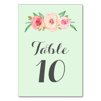 Blush Pink Floral Mint Table Number Cards