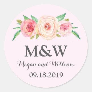 Blush Pink Floral Monogram Wedding Classic Round Sticker