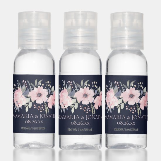 Blush Pink Floral on Navy Blue Wedding Favors Hand Sanitizer