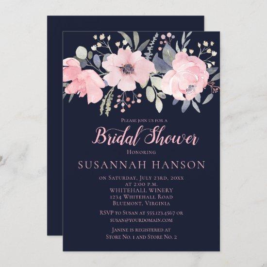 Blush Pink Floral on Navy Bridal Shower Invitation
