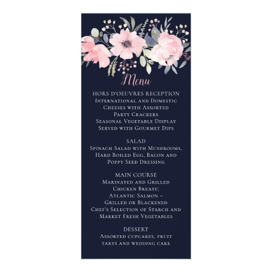 Blush Pink Floral on Navy Wedding | Menu