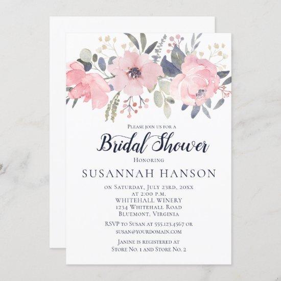 Blush Pink Floral on White Bridal Shower Invitation