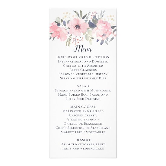 Blush Pink Floral on White Wedding | Menu