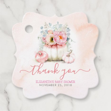 Blush Pink Floral Pumpkins Baby Shower Thank You Favor Tags