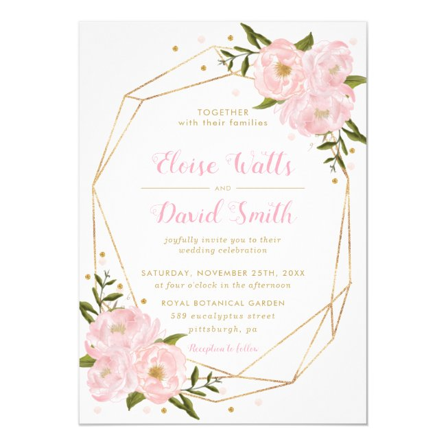 Blush Pink Floral Roses Peonies Geometric Wedding Invitation