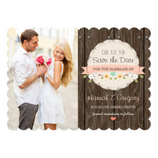 BLUSH PINK Floral Rustic Boho Save the Date Card