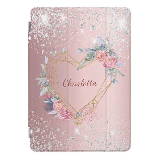 Blush pink floral silver glitter monogram elegant iPad pro cover