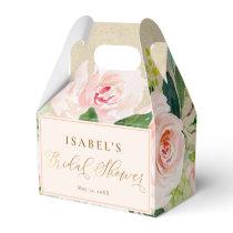 Blush Pink Floral Watercolor & Kraft Bridal Shower Favor Box