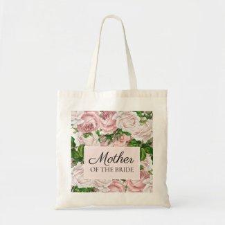 Blush Pink Floral Wedding Mother of Bride Tote Bag