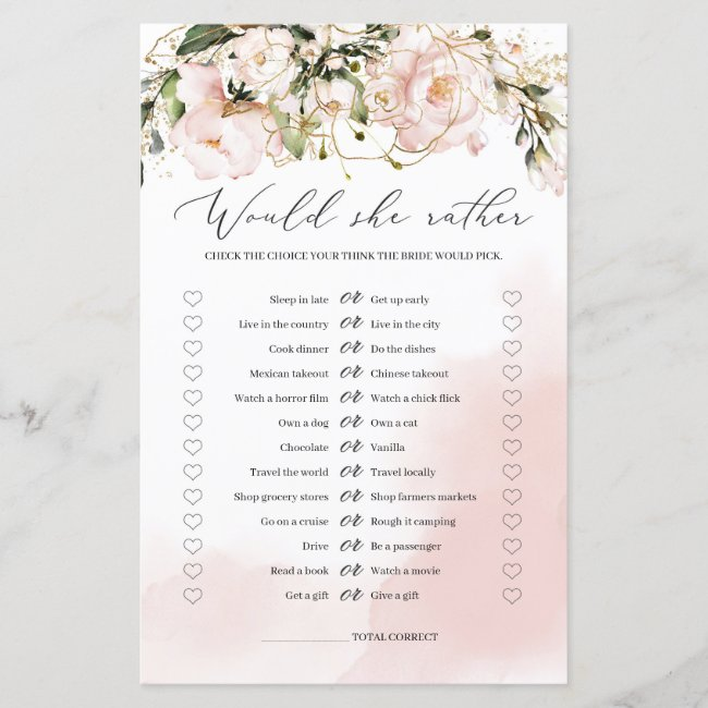 Blush Pink Floral Would she Rather Game Boho Bride