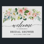 "Blush Pink Florals Botanical Bridal Shower Welcome Poster<br><div class=""desc"">Elegant Blush pink / peach spring floral botanical bridal shower welcome poster featuring a bouquet of soft pastel watercolor roses, peonies and hydrangeas in shades of blush pink, peach and cream with lush green botanical leaves and eucalyptus leaves. A modern design choice that is perfect for spring and summer sage...</div>"