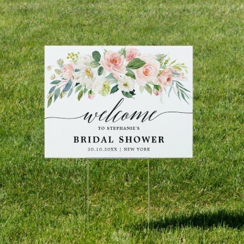 Blush Pink Florals Botanical Bridal Shower Welcome Sign