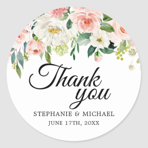Blush Pink Florals Botanical Wedding Thank You Classic Round Sticker
