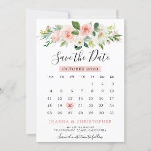 8a6cbb230be17 Blush Pink Florals Modern Botanical Calendar Save The Date
