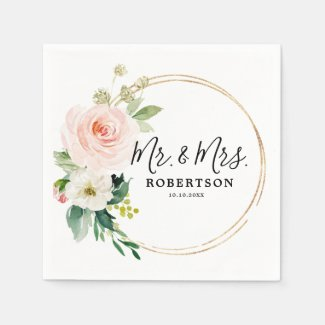 Blush Pink Florals Modern Botanical Wedding Napkin