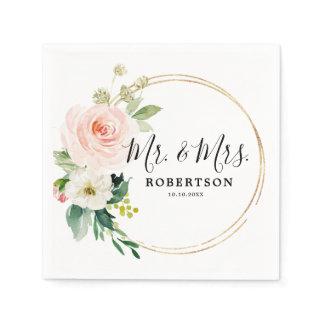 Blush Pink Florals Modern Botanical Wedding Napkins
