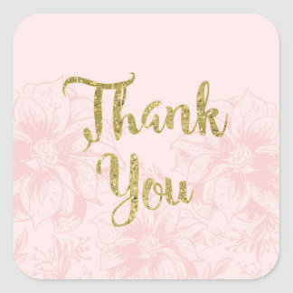Blush Pink Flower and Gold Glitter Thank You Square Sticker