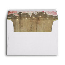 Blush Pink Flowers Rustic Wood String Lights Envelope