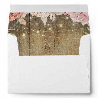 Blush Pink Flowers Rustic Wood String Lights Envelope