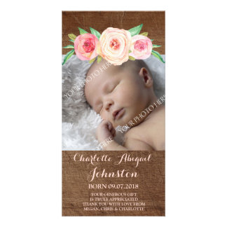 Blush Pink Flowers Wood Thank You Baby Shower Card