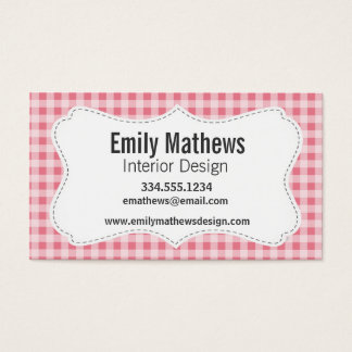 Blush Pink Gingham Business Card