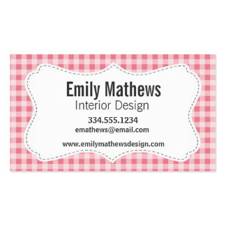 Blush Pink Gingham Business Card Templates