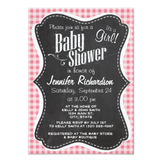 "Blush Pink Gingham; Chalkboard look 4.5"" X 6.25"" Invitation Card"