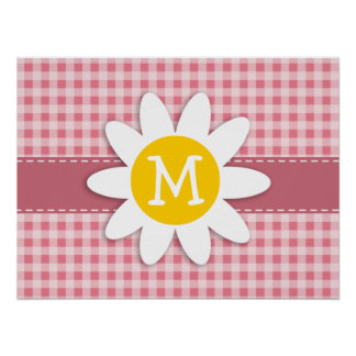 Blush Pink Gingham; Daisy Poster