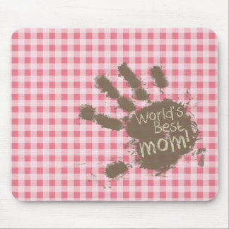 Blush Pink Gingham; Funny Mom Mouse Pad