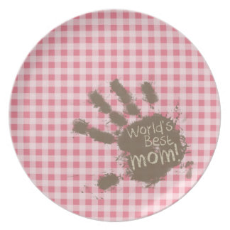 Blush Pink Gingham Funny Mom Dinner Plate