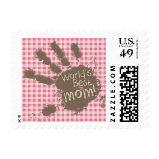 Blush Pink Gingham; Funny Mom Stamp