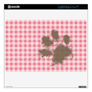 Blush Pink Gingham Funny Paw Print Decal For MacBook Air